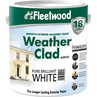 Fleetwood Weather Clad Smooth Masonry Brilliant White Paint - 5 Litre