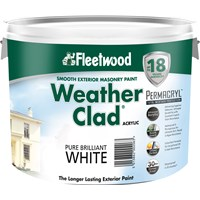 Fleetwood Weather Clad Smooth Masonry Brilliant White Paint - 10 Litre