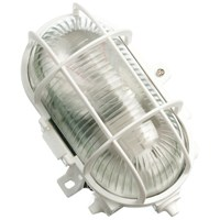 Powermaster  Oval Caged Bulkhead Light White - 60W