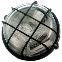 Powermaster  Round Caged Bulkhead Light Black - 100W