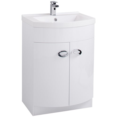 Pebble 60cm D Shaped Vanity Unit & Washbasin Gloss White