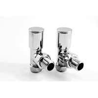 Pair Modern Angled Radiator Valves Chrome