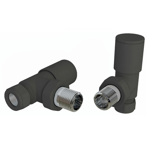 Pair Angled Anthracite Radiator Valves