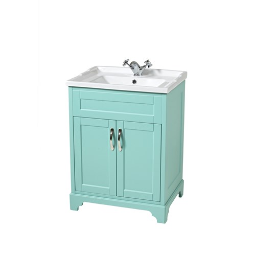 Woodbridge 60cm Floor Standing Unit & Washbasin Jade
