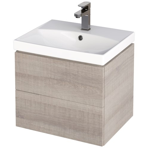 City 70cm Wall Hung Vanity Unit & Basin Grey Oak