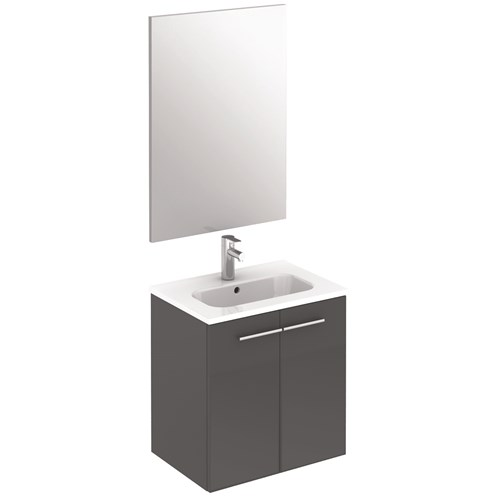 Paris 50cm Wall Hung Unit, Basin & Mirror 2 Door Gloss Grey